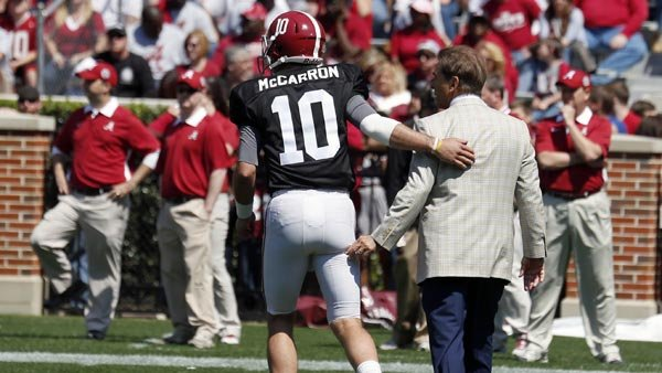Nick Saban is saying goodbye to AJ McCarron after this season, but is he also parting ways with Alabama? (Source: Alabama Athletics Communications)