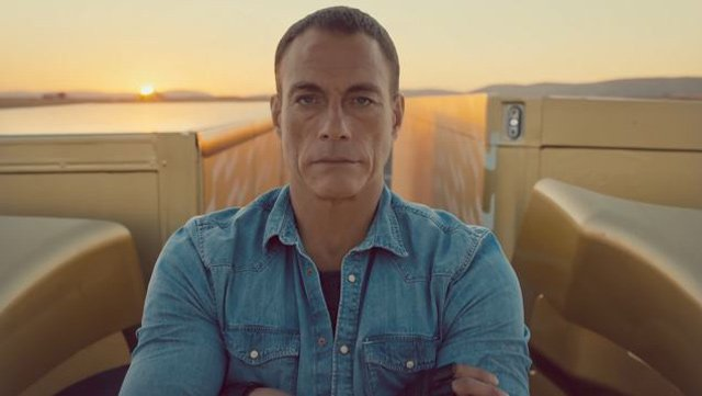 "A stoic Jean-Claude Van Damme prepares to do ""the most epic of splits"" in a Volvo advertisement that has gone viral. (Source: YouTube/Volvo Trucks)"