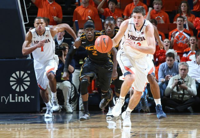 Virginia's Joe Harris, front, leads a break against VCU on Tuesday. (Source: Matt Riley/Virginia Athletics)
