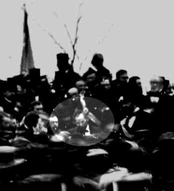 One of three known photos of Abraham Lincoln at Gettysburg, PA, on Nov. 19, 1863, when he delivered the Gettysburg Address. (Source: Wikimedia Commons)