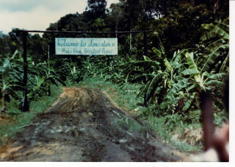 The sign marking the entrance to Jonestown, Guyana, where more than 900 people committed suicide Nov. 18, 1978. (Source: Jonestown Institute/Wikimedia Commons)