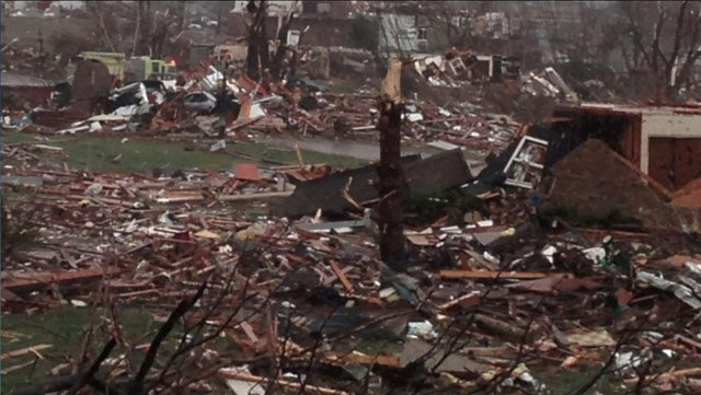 An area of Washington, IL, was wiped out by a tornado. (Source: Jim Ardis/CNN)