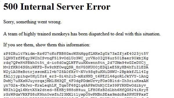 This error message appeared on YouTube while the website was down. (Source: YouTube)
