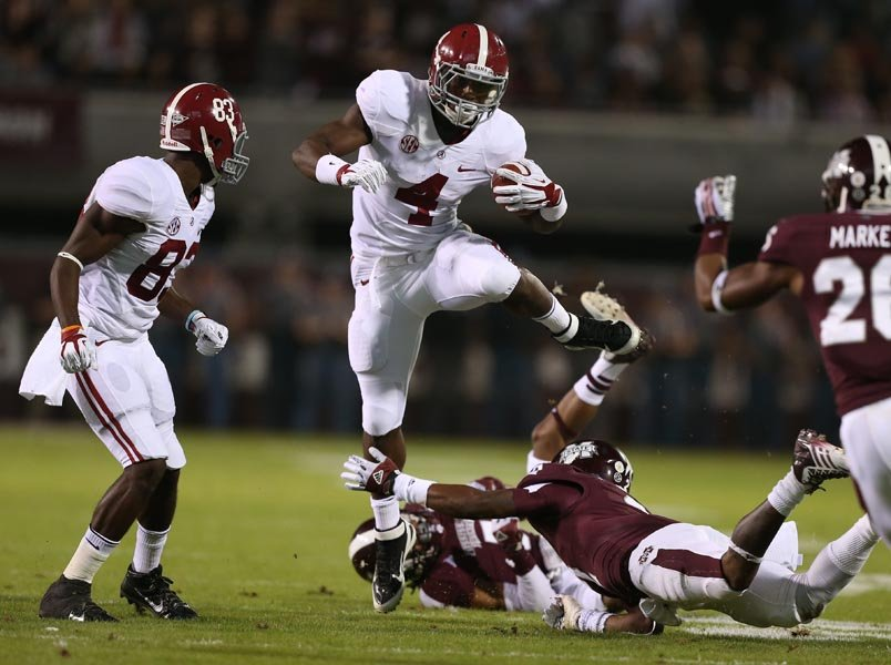 Alabama running back T.J. Yeldon had a career-high 160 yards against Mississippi State. (Source: Alabama Athletics)
