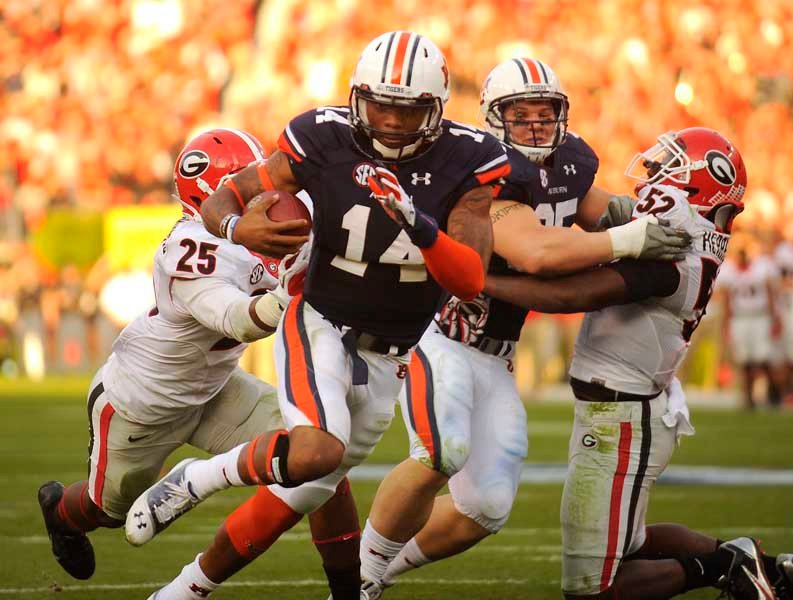 Auburn quarterback Nick Marshall led the Tigers to a 43-38 win over Georgia. (Source: Todd van Emst/Auburn University)
