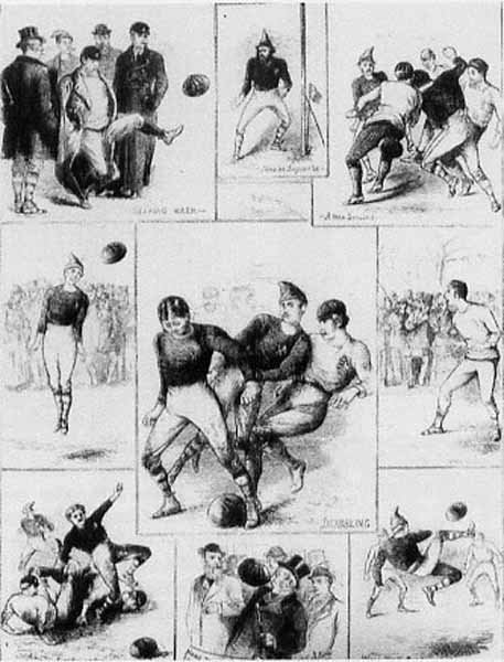 A illustration of the first international football match. (Source: Wikimedia Commons)
