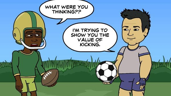 Brian apparently was confused about what version of football game they were playing. (Source: Bitstrips/Facebook)