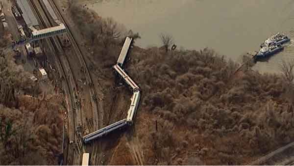Several train cars are shown completely displaced from the tracks after an early Sunday morning derailment in New York City. (Source: CNN)