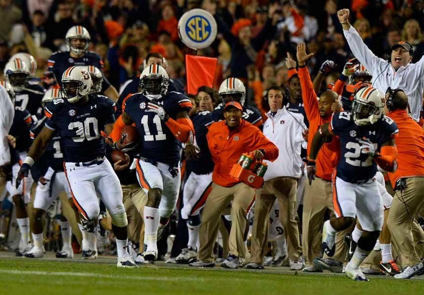 Auburn's Chris Davis (11) returns a field goal for the game-winning touchdown in a 34-28 win over Alabama.