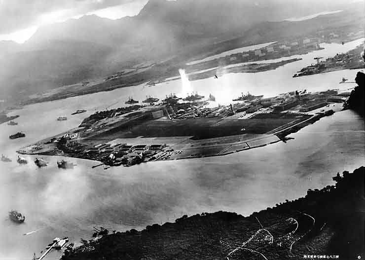 This picture was taken Dec. 7, 1941, by a Japanese pilot shortly before the attack on Pearl Harbor. (Source: Wikimedia Commons)