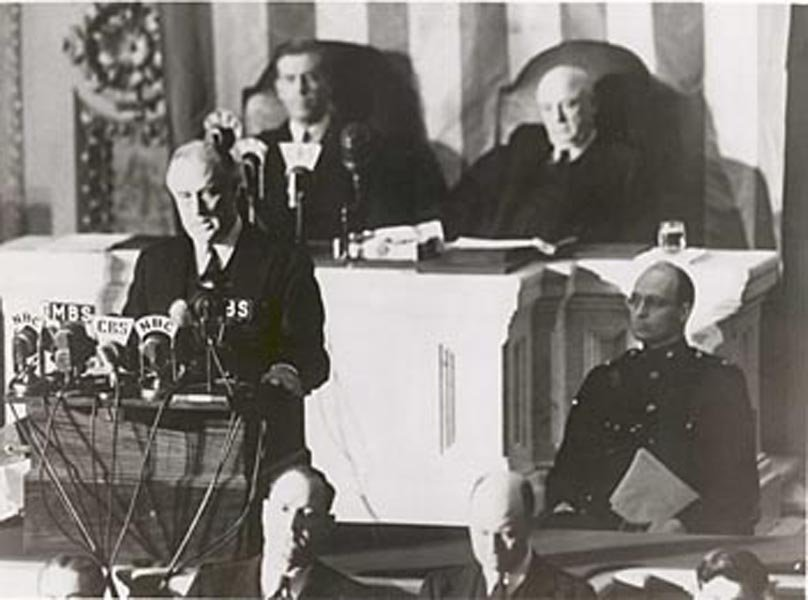 President Franklin Roosevelt addresses Congress on Dec. 8, 1941, to ask for a declaration of war against Japan. (Source: Wikimedia Commons)