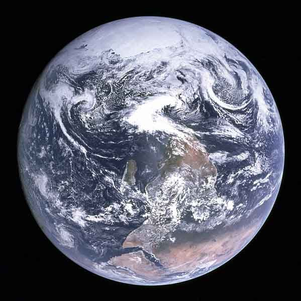 "The ""blue marble"" photograph of Earth taken on board Apollo 17, shown here in its original orientation. (Source: NASA/Wikimedia Commons)"