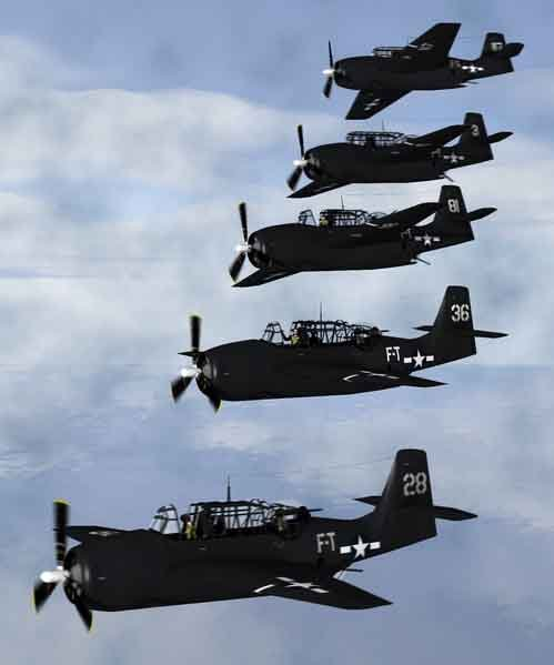 An artist's rendering of what Flight 19 looked like in formation before it was lost in the Bermuda Triangle. (Source: Anynobody/Wikimedia Commons)