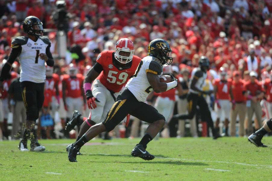 Henry Josey (20) is a big reason why Missouri has the SEC's second-best running game. (Source: Georgia Athletics)