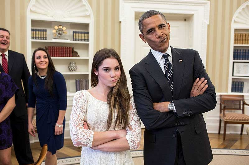 "Gymnast McKayla Maroney and President Barack Obama imitate Maroney's ""not impressed face"" from her silver medal performance in the 2012 London Olympics. Maroney was born Dec. 9, 1995. (Source: White House/Wikimedia Commons)"