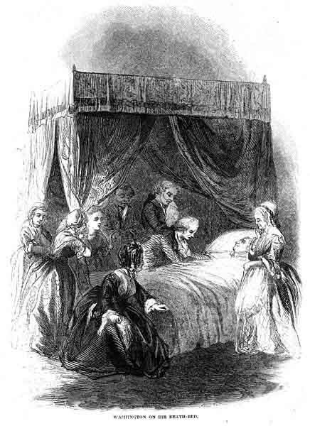 This engraving depicts George Washington on his death bed. (Source: Wikimedia Commons)