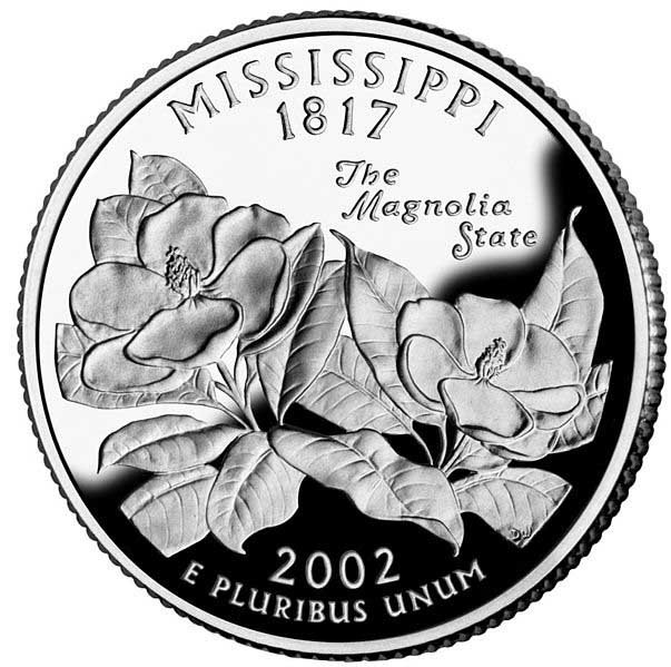 The back of the state quarter of Mississippi. Mississippi became a state Dec. 10, 1817. (Source: Wikimedia Commons)