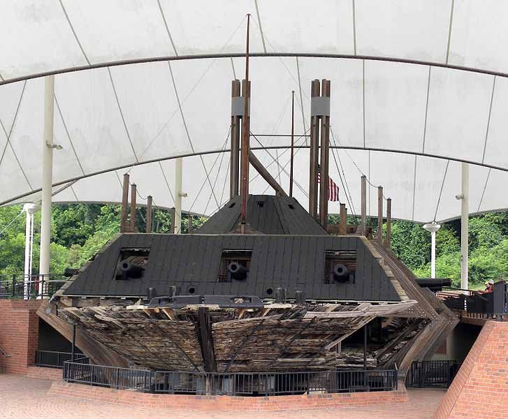 The USS Cairo on display at the Vicksburg National Military Park in Vicksburg, MS. (Source: Wilson44691/Wikimedia Commons)