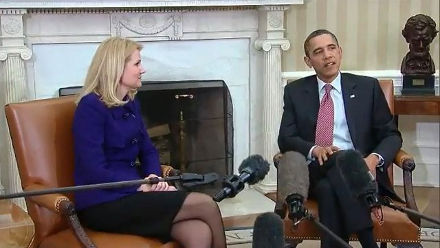 Prime Minister Helle Thorning-Schmidt of Denmark and President Barack Obama meet at the White House in February 2012. The two were spotted taking a selfie during the Nelson Mandela memorial in South Africa on Tuesday. (Source: The Film Archive/YouTube)