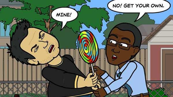 Brian is acting like a huge kid again. (Source: Bitstrips/Facebook)