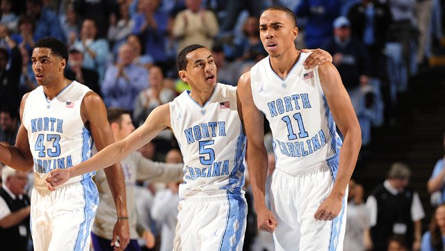 North Carolina sophomores Marcus Paige (5) and Brice Johnson (11) have been essential to the Tar Heel's victories over top-ranked teams. Also pictured is junior James Michael McAdoo (43). (Source: Jeffrey A. Camarati/UNC Athletic Communications)