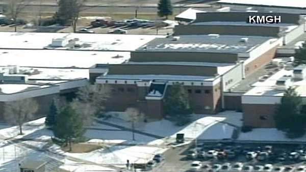 A gunman targeting a teacher inside Arapahoe High School in Centennial, CO,  was found dead by a self-inflicted gunshot wound, according to authorities. (Source: KMGH/CNN)