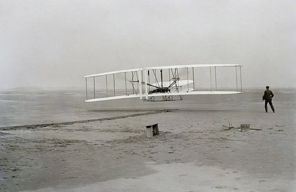 The first successful powered flight by the Wright brothers was Dec. 17, 1903. (Source: Library of Congress/Wikimedia Commons)