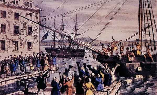 A lithograph depicting the Boston Tea Party. (Source: Wikimedia Commons)