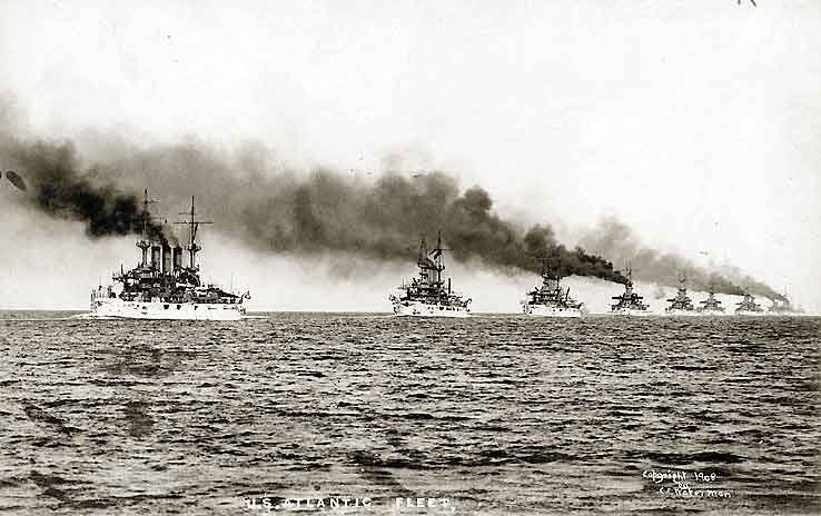 The Great White Fleet led by the USS Kansas as it departs Hampton Roads, VA, on the first leg of its circumnavigation of the Earth on Dec. 16, 1907. (Source: U.S. Navy/Wikimedia Commons)