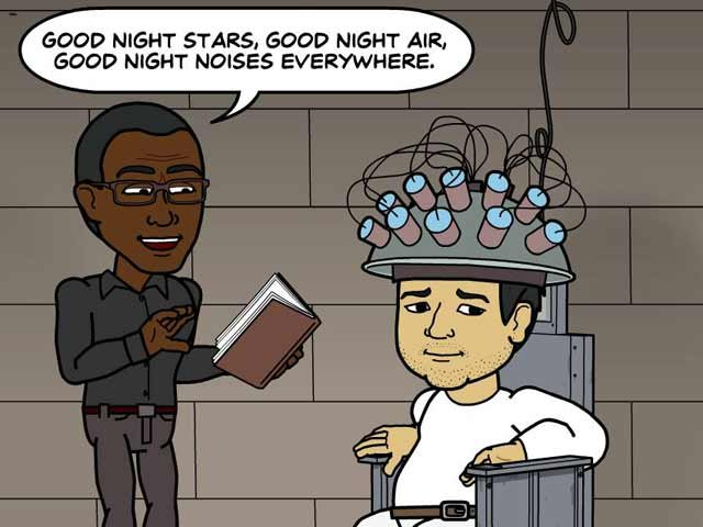 "George didn't quite understand when Brian said he was being ""put to sleep."" (Source: Bitstrips/Facebook)"