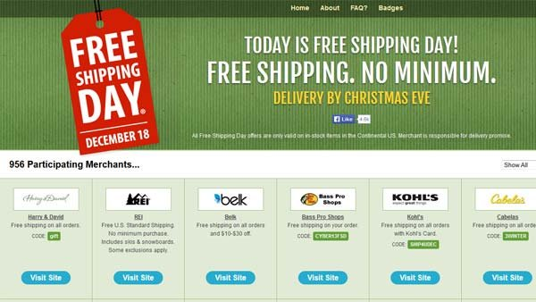More than 900 stores will be participating in Free Shipping Day on Wednesday Dec. 18. (Source: FreeShippingDay.com)