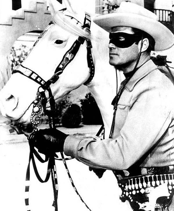 Clayton Moore as the Lone Ranger with his horse, Silver. (Source: Wikimedia Commons)