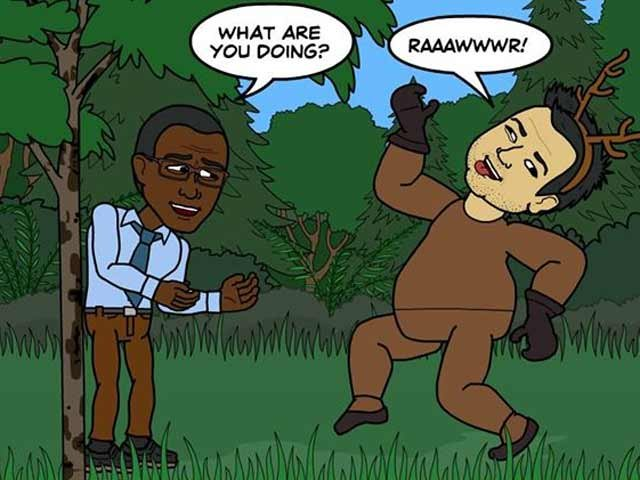 It's a good thing George doesn't hunt because Brian decided to channel his inner elk. (source: Bitstrips/Facebook)