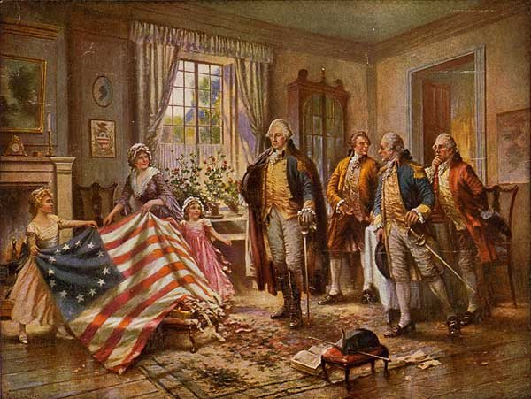 This painting depicts Betsy Ross presenting George Washington with the first U.S. flag. Ross was born New Year's Day 1752. (Source: Wikimedia Commons)
