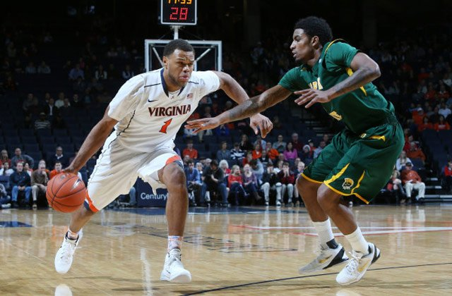 Virginia's Justin Anderson (1) drives to the basket against Norfolk State on Dec. 23. (Source: Jim Daves/VirginiaSports.com)