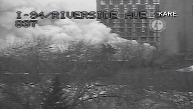 A residential building in Minneapolis is on fire after an explosion Wednesday morning. (Source: KARE)
