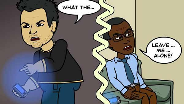 Brian and George find out the hard way the wired world isn't always so great. (Source: Bitstrips/Facebook)