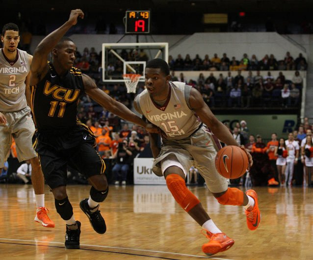 Freshman guard Ben Emelogu (15) has been playing well for the Virginia Tech Hokies. (Source: HokieSports.com)