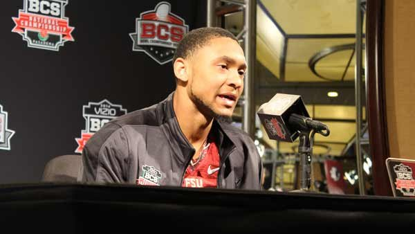 Florida State wide receiver Rashad Greene talks to reporters at BCS Championship Game Media Day. (Source: George Jones/Raycom News Network)