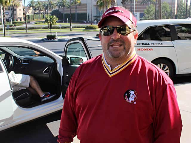 Paul Isgar has quite a reputation as an avid supporter of Florida State. (Source: George Jones/Raycom News Network)