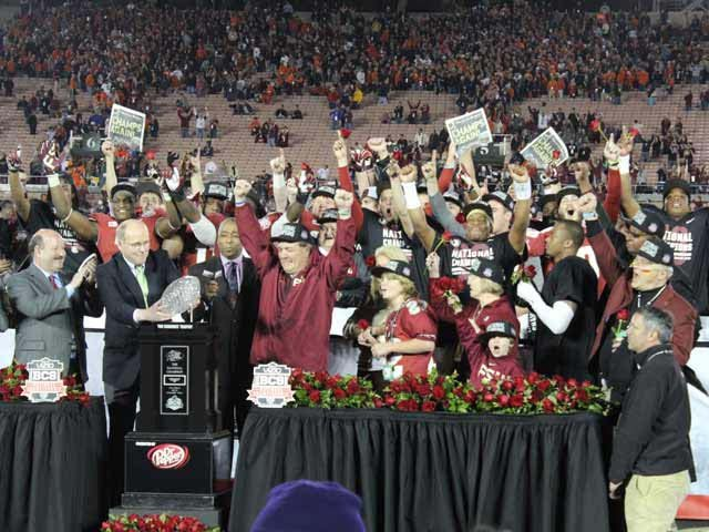 The No. 1-ranked Florida State Seminoles are the winners of the last BCS National Championship in Pasadena, CA.  (Source: George Jones/Raycom News Network)