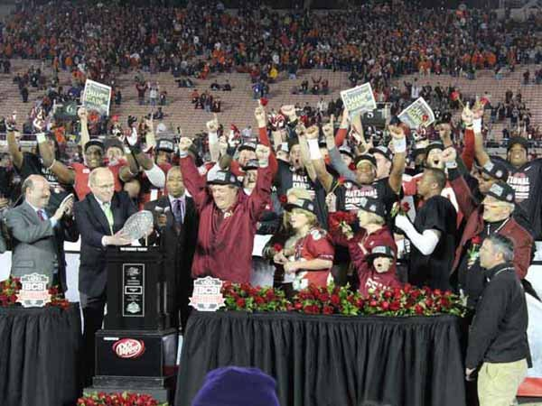 Florida State celebrates is national championship win over Auburn. (Source: George Jones/RNN