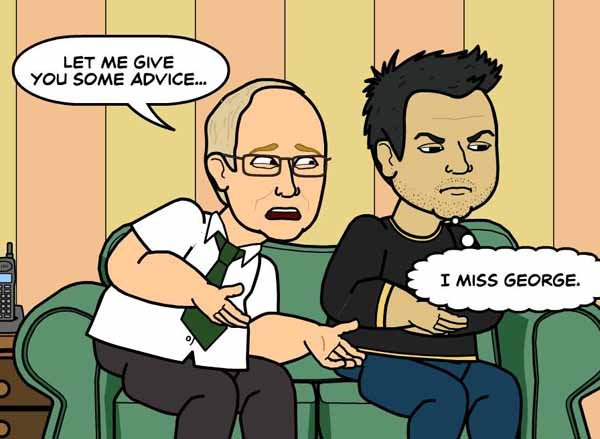 Brian is not wild about Tom's oversharing. (Source: Bitstrips/Facebook)