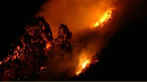 Hundreds of firefighters work to contain fast-moving fire near Glendora, CA. (Source: KTLA/CNN)