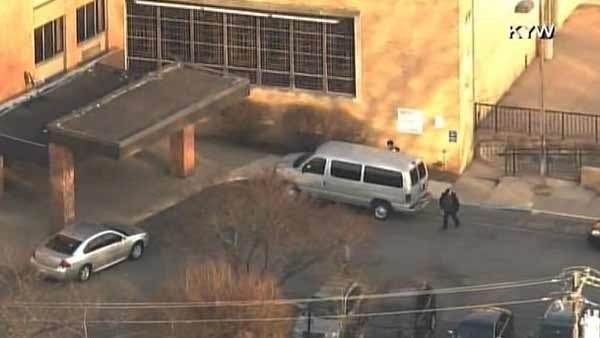 Police are clearing the area around a Philadelphia school where a shooting took place Friday. (Source: KYW/CNN)