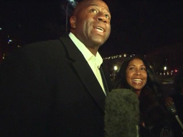 NBA legend Magic Johnson leaves Michelle Obama's birthday party early Sunday morning in Washington. (Source: CNN)