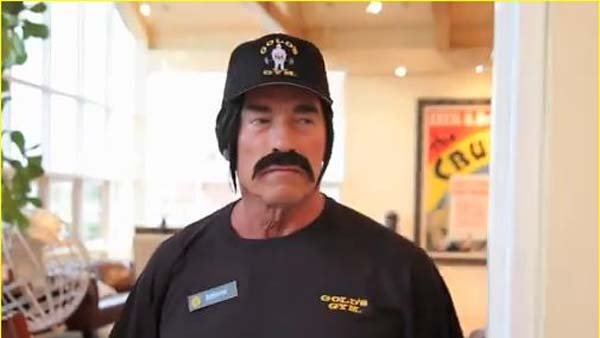 Arnold Schwarzenegger went undercover to promote health, fitness and after school programs. (Source: YouTube)