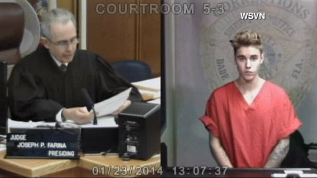 Justin Bieber appears in a Miami-Dade County courtroom Thursday after his arrest for DUI. (Source: WSVN/CNN)