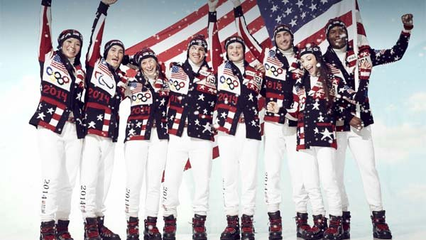 "Team USA showing off their ""Made in America"" uniforms by designer Ralph Lauren. (Source: Ralph Lauren)"
