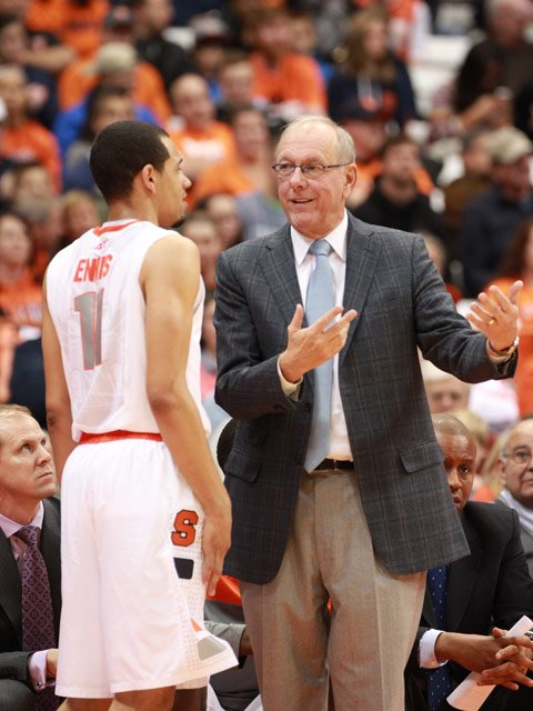 Tyler Ennis and coach Jim Boeheim have led Syracuse to an 18-0 record, 5-0 in the ACC. (Source: Syracuse University Athletic Communications)